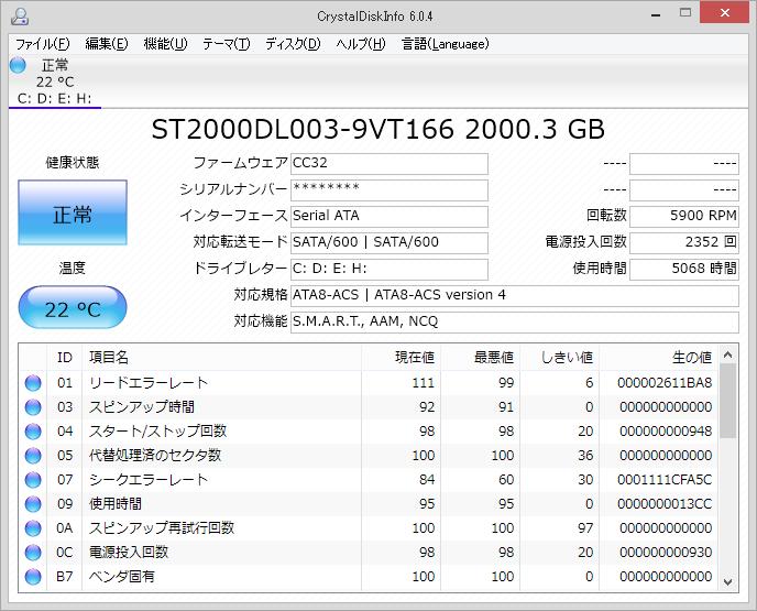CrystalDiskInfoの画面(普通)